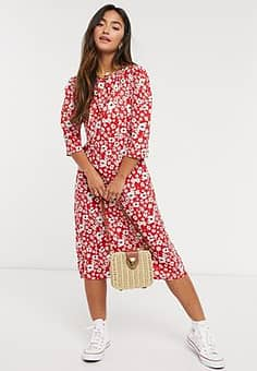 QED London midi dress in red floral print