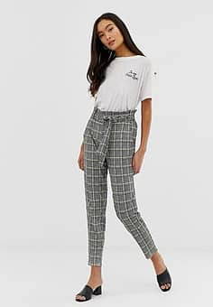 paperbag waist peg trousers in houndstooth with neon yellow check-Multi