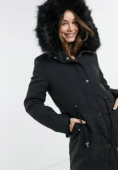 QED London parka coat with reversible faux fur in black
