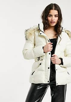 QED London puffer coat with faux fur trim and belt in white-Tan