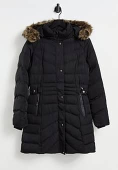 QED London puffer coat with faux fur trim in black