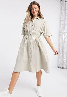 QED London shirt midi dress in stone