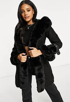 QED London sudedette belted coat with faux fur trim in black