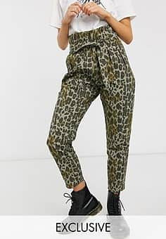 inspired balloon tapered jean with tie waist in camo animal-Multi