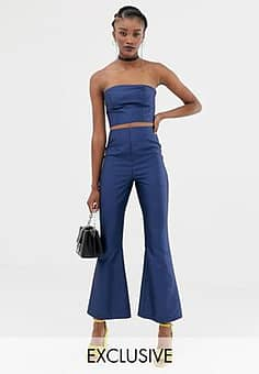 inspired co-ord flare trousers in satin-Blue