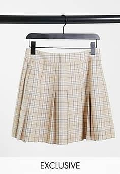 Reclaimed Vintage inspired pleated skirt in neutral check-Brown