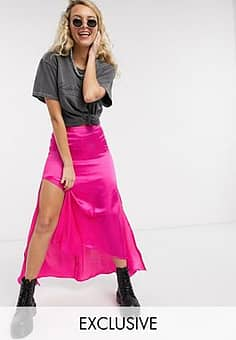 Reclaimed Vintage inspired skirt in satin with hi low hem in pink