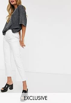 inspired The '85 cropped flare jean in white