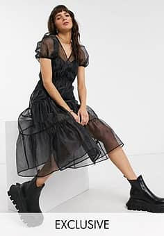 inspired wrap dress with volume sleeve in organza-Black