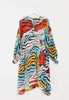 animal print midi dress-Multi