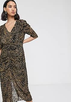 flocked leopard print midi dress-Multi