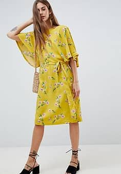 Flute Sleeve Midi Dress In Floral Print-Yellow