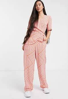 mismatch stripe coord trousers-Pink