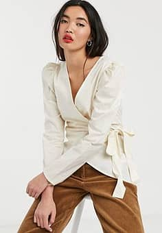 puff sleeve wrap blouse-White