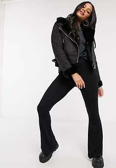 crop faux leather aviator jacket with borg in black