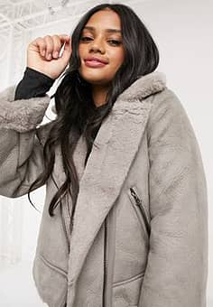 crop faux leather aviator jacket with borg in grey