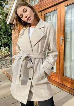 double-breasted coat in beige
