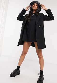 double-breasted tailored coat in black