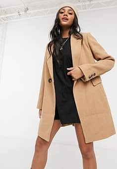 double breasted tailored coat in camel-Brown