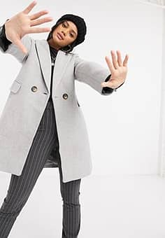double-breasted tailored coat in grey