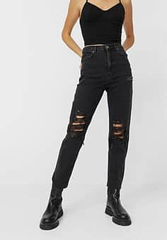 mom fit vintage ripped mom jean in black