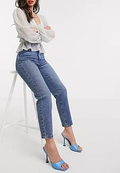 mom jean with stretch in mid wash-Blue