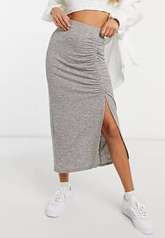 ruched jersey pencil skirt in grey