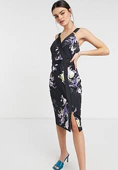 Ted Baker camarie floral midi dress in navy