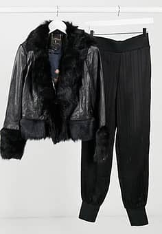 Ted Baker Harlini shearling leather mix jacket in black