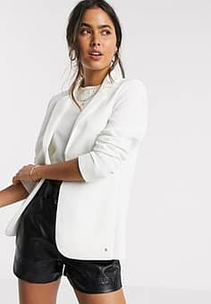 kayete long line straight fit blazer in ivory-White