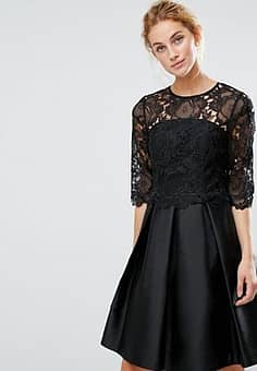 Ted Baker Maaria Lace Bodice Dress-Black