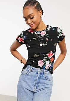 Ted Baker Periie sandalwood floral jersey fitted t-shirt in black
