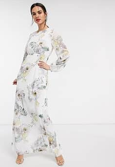 Ted Baker woodland lace trim maxi dress in ivory-Pink