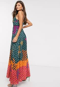 Ted Baker zohzoh pinata high neck maxi dress in olive-Green