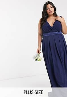 bridesmaid wrap front bow back maxi dress in navy-Blue