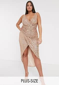 wrap front sequin maxi dress in rose gold
