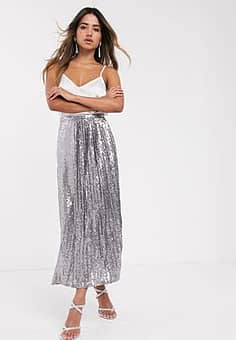 sequin double layered pleat midi skirt in silver