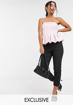 exclusive peplum puff hem top in pink