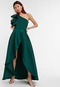True Violet frill one shoulder high low prom maxi dress in forest green