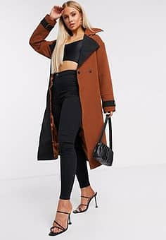Unique 21 contrast belted trench coat in brown