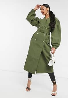 Unique 21 full sleeve trench coat in khaki-Green