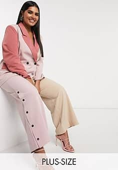 contrast panelled trousers in cream and pink-Multi