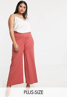 wide leg trousers in red-Pink