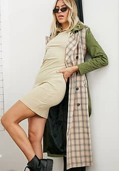 Unique 21 mix& match trench in khaki & check-Green