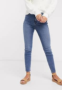 high waisted skinny jeans in blue