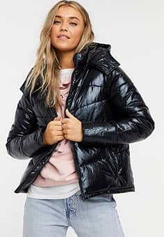 padded jacket with hood in black