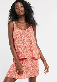 palm print cami co-ord-Orange