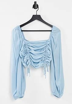 ruched crop top in blue