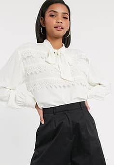 blouse with tie neck and crochet lace trim in cream-White