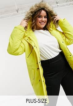 Curve parka with fluffy hood and drawstring waist in yellow